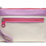 Coach Legacy Weekend Beach Canvas Wristlet # 49268 สี silver natural lilac pink