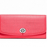 Coach Legacy Perforated Slim Envelope Wallet # 49059 สี Silver/Watermelon/Snow