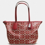 COACH TAXI ZIP TOP TOTE IN SIGNATURE COATED CANVAS # 33504 สี SV/RED