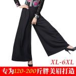กางเกงแฟชั่นCulottes ขายาว เอวยางยืด สีดำ/สีน้ำเงิน (XL,2XL,3XL)