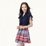 เดรสชีฟองไซส์ใหญ่สไตล์เกาหลี แขนสั้น กระโปรงพิมพ์ลาย สีน้ำเงิน XL 2XL 3XL 4XL