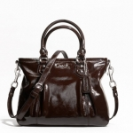 Coach ASHLEY PATENT MINI TOTE # 20447 สี Silver/Mahogany