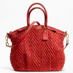 Coach madison quilted chevron nylon large lindsey # 18634 สี Red