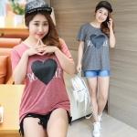 เสื้อยืดคอกลมแขนสั้น สีเทา/สีแดง รูปหัวใจตรงหน้าอก (XL,2XL,3XL,4XL)