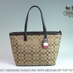 Coach legacy weekend signature c medium zip top tote  # 23465 สี KHAKI / MAHOGANY