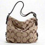 COACH 24CM SIGNATURE DUFFLE SHOULDER BAG # 15067 สี Khaki/ Mahoganny