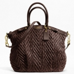 Coach madison quilted chevron nylon large lindsey # 18634 Brown