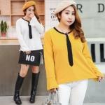 เสื้อยืดคอกลม สีขาว/สีเหลือง แต่งเนคไทดำ แขนยาวปลายแขนกระดิ่ง (XL,2XL,3XL,4XL)