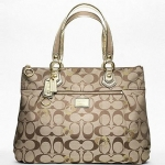 COACH Poppy Signature Hearts Glam Tote  # 18711 สี Khaki Gold