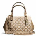Coach Madison Mini Satchel In Op Art Sateen Fabric # 49977 สี LI/LIGHT KHAKI/CHAMPAGNE