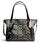 COACH PEYTON Pocket PVC Leather Tote # 25504 สี Black White/Black