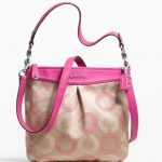 Coach ASHLEY DOTTED OP ART HIPPIE #  20088  SILVER/KHAKI/FUCHSIA