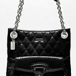 กระเป๋า COACH poppy liquid gloss slim tote #18673 สี Black