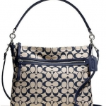 COACH POPPY PERRI HIPPIE IN SIGNATURE FABRIC #  30902 สี B4/KHAKI/NAVY