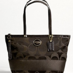 Coach Signature Stripe Sateen Tote # 18037 Brown/Brown
