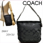 COACH 24CM SIGNATURE DUFFLE SHOULDER BAG # 15067 สี Black