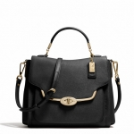 COACH MADISON SMALL SADIE FLAP SATCHEL IN SAFFIANO LEATHER # 27850 สี BLACK
