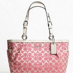 COACH Gallery Signature E/W Tote # 17726  Rose/white