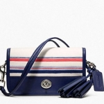 Coach Stripe Print Penny Shoulder Purse # 22396 สี Silver/Navy