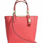 COACH MADISON MINI NORTH/SOUTH TOTE IN SAFFIANO LEATHER # 29901 สี LIGHT GOLD/LOVE RED