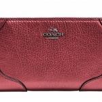 Coach Mickie Accordion Zip Wallet in Grain Leather # 52645 สี Mettalic Cherry