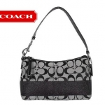 Coach Signature Stripe Top Handle Pouch # 43933 สี Black/White