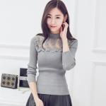 เสื้อยืดผ้าฝ้ายถักไซส์ใหญ่ แขนยาว ตัดต่อผ้าชีฟองลูกไม้ช่วงอก สีเทา/สีดำ (2XL,3XL,4XL)