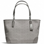 COACH MADISON EAST/WEST TOTE IN NEEDLEPOINT OP ART FABRIC # 26767 สี SILVER/GREY