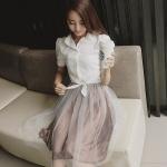 Set 2 ชิ้น เสื้อเชิ้ตผ้าฝ้ายสีขาว แขนสั้น+กระโปรงสั้นผ้าชีฟอง (XL,2XL,3XL,4XL,5XL)