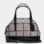 COACH PEYTON GLEN PLAID MINI CORA DOMED SATCHEL # 33319 สี SILVER/BORDEAUX MULTI