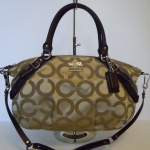 Coach Madison Op Art Sateen Large Sophia Satchel # 17691 สี Khaki/Mahogony Brown
