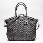 PROMOTION ลูกค้าเก่า !!! COACH New madison quilted chevron nylon large lindsey # Grey พร้อมส่ง