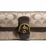 Coach Campbell Signature Buckle Slim Envelope Wallet # 50149 สี Khaki Mahogany