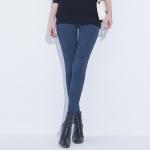กางเกงลำลองขายาวไซส์ใหญ่ สีน้ำเงิน ผ้าทึบลายลูกไม้ (L,XL,2XL,3XL,4XL)