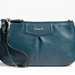 Coach ASHLEY LEATHER LARGE WRISTLET # 48103 สี PEACOCK