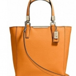 COACH MADISON MINI NORTH/SOUTH TOTE IN SAFFIANO LEATHER # 29901 สี LIGHT GOLD/BRIGHT MANDARIN