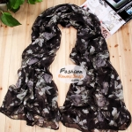 ผ้าพันคอแฟชั่นลายป่า Aavatar forest : สีดำ CK0203