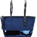 COACH Signature Stripe Sequins Tote#17574 Blue