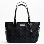 Coach 23766 Gallery Signature Zipper Tote #  23766 สี  silver black