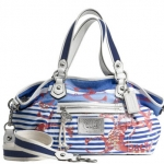 COACH POPPY NAUTICAL STRIPE ROCKER# 16966 SILVER / MARINE