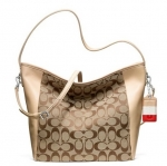 COACH LEGACY WEEKEND SHOULDER BAG IN SIGNATURE C FABRIC # 23702 สี SILVER/KHAKI/VACHETTA