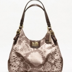 COACH MADISON PYTHON PRINT MAGGIE HOBO SHOULDER BAG # 19843   BRASS/KHAKI MULTI