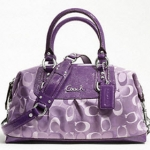 Coach ASHLEY 3 COLOR SIGNATURE SATCHEL # 18425 SILVER/VIOLET MULTI