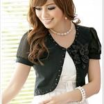 เสื้อคลุมชีฟองแขนสั้นแต่งโบว์ดอกไม้ สีดำ (XL,2XL,3XL)