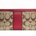 Coach Park Signature Accordion Zip Around  Wallet #  49159 สี Khaki / Black Cherry