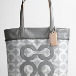 COACH AUDREY METALLIC OPA PIQUE LEIGH SLIM TOTE # 17035