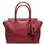 Coach legacy leather medium candace carryall # 19890 สี SILVER / BLACK CHERRY