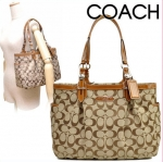 Coach Signatu​re E&W Gallery Tote #15146 Khaki/Toffee