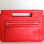 Coach Legacy Basket Clutch In Leather # 48012 สี Bright Coral