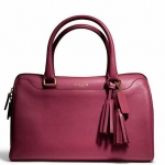 Coach legacy perforated leather haley satchel # 23574 สี Brass / Deep Port
